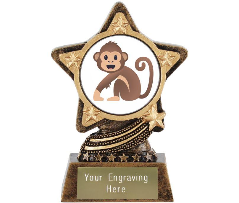"""Monkey Emoji Trophy by Infinity Stars 10cm (4"""")"""