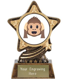 "Hear No Evil Monkey Emoji Trophy by Infinity Stars 10cm (4"")"