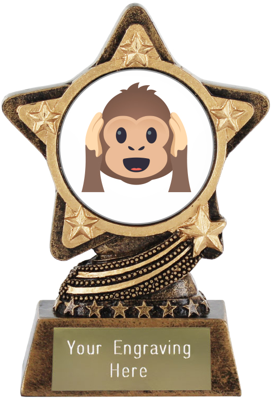 "Hear No Evil Monkey Emoji Trophy by Infinity Stars 10cm (4"")"