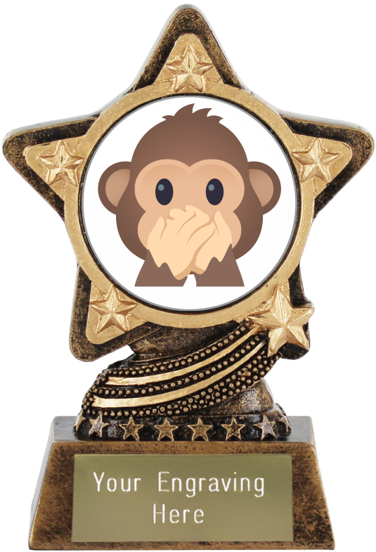 "Speak No Evil Monkey Emoji Trophy by Infinity Stars 10cm (4"")"