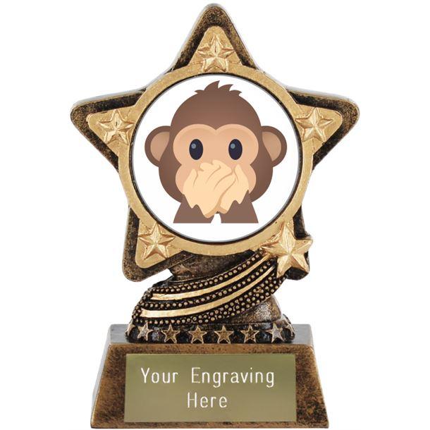 """Speak No Evil Monkey Emoji Trophy by Infinity Stars 10cm (4"""")"""