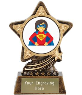 "Woman Superhero Emoji Trophy by Infinity Stars 10cm (4"")"