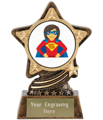 "Woman Superhero Emoji Trophy by Infinity Stars 10cm (4"")"