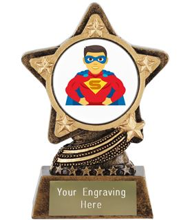 "Man Superhero Emoji Trophy by Infinity Stars 10cm (4"")"