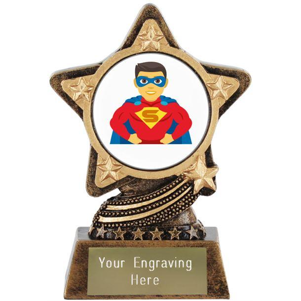 "Man Superhero Emoji Trophy by Infinity Stars 10cm (4"")"