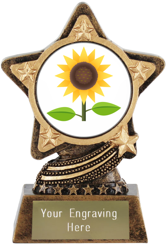 "Sunflower Emoji Trophy by Infinity Stars 10cm (4"")"