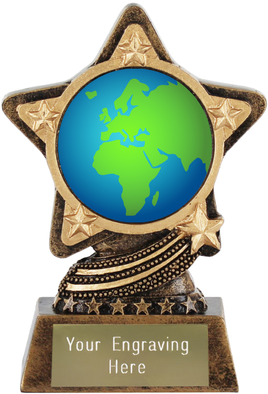 "Globe Showing Europe Emoji Trophy by Infinity Stars 10cm (4"")"