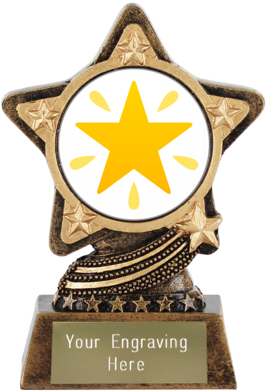 "Glowing Star Emoji Trophy by Infinity Stars 10cm (4"")"