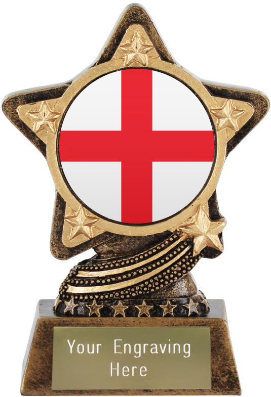 "England Flag Emoji Trophy by Infinity Stars 10cm (4"")"