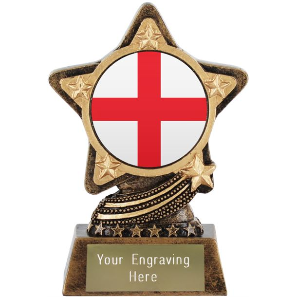 """England Flag Trophy by Infinity Stars 10cm (4"""")"""