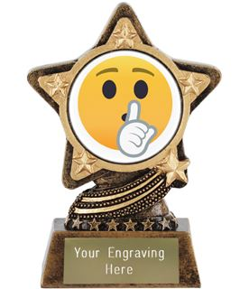 "Shushing Face Emoji Trophy by Infinity Stars 10cm (4"")"