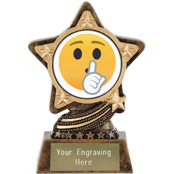 "Shushing Face Emoji Trophy by Infinity Stars 10cm (4"")"