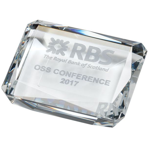 """Optical Crystal Rectangle Paperweight 10cm (4"""")"""