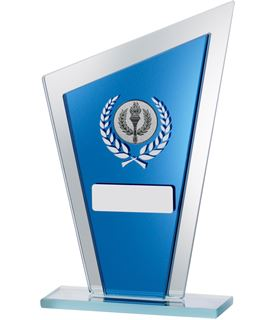 "Blue Mirrored Glass Pointed Plaque Award 18.5cm (7.25"")"