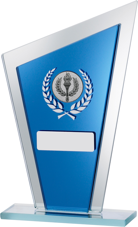 """Blue Mirrored Glass Pointed Plaque Award 16.5cm (6.5"""")"""