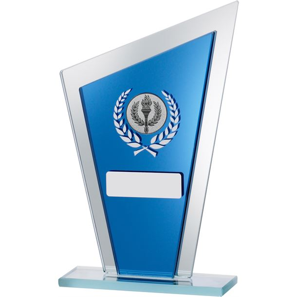 """Blue Mirrored Glass Pointed Plaque Award 20.5cm (8"""")"""