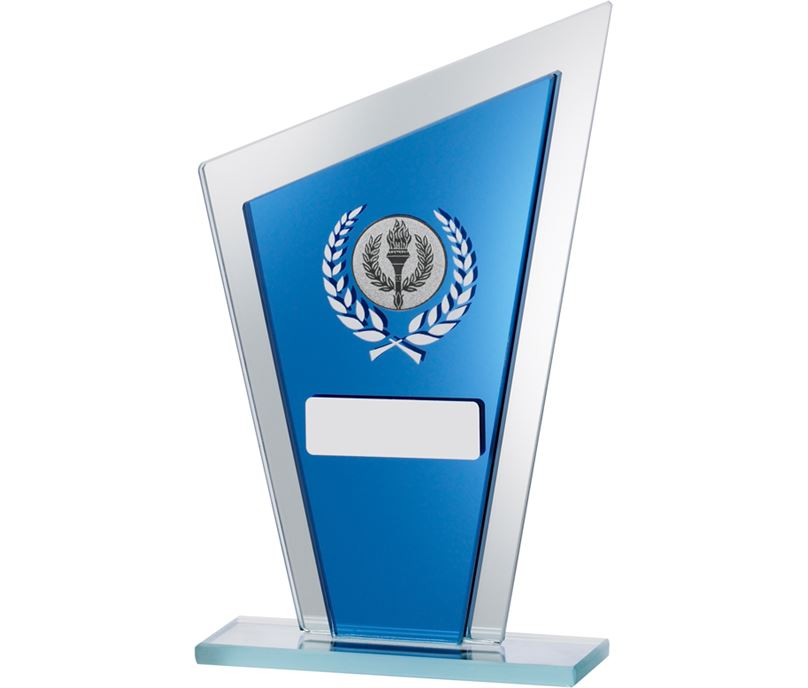 "Blue Mirrored Glass Pointed Plaque Award 20.5cm (8"")"