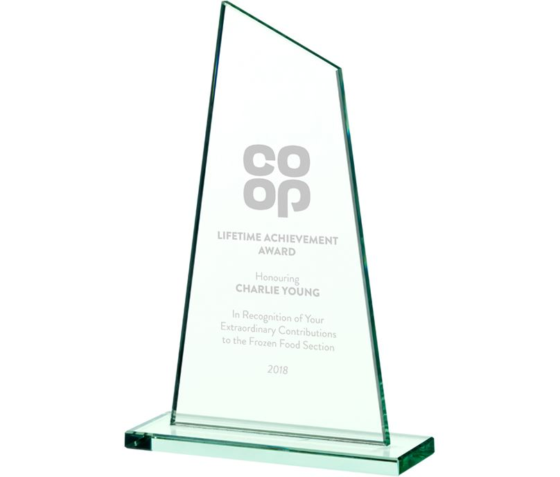 "Peak Jade Glass Plaque Award 22cm (8.75"")"