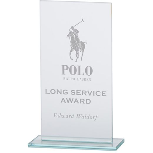 """Warrior Rectangle Glass Plaque Award 20cm (8"""")"""