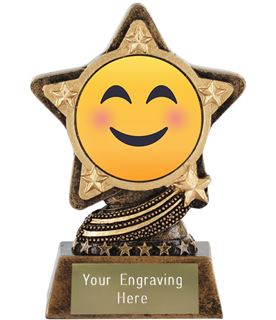 "Smiling Face With Smiling Eyes Emoji Trophy by Infinity Stars 10cm (4"")"