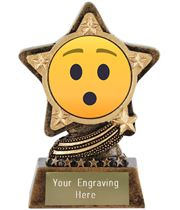 "Hushed Face Emoji Trophy by Infinity Stars 10cm (4"")"