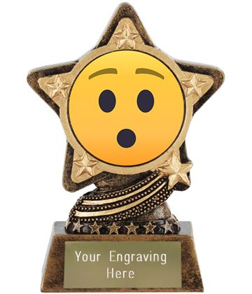 """Hushed Face Emoji Trophy by Infinity Stars 10cm (4"""")"""