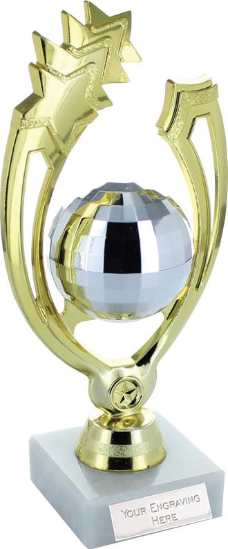 "Gold Shooting Star Glitter Ball Dance Trophy On Marble Base 18cm (7"")"