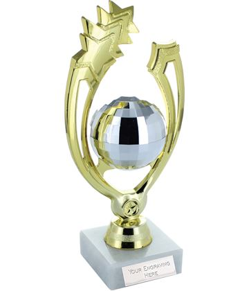 "Gold Shooting Star Glitter Ball Dance Trophy On Marble Base 18cm (7"")"