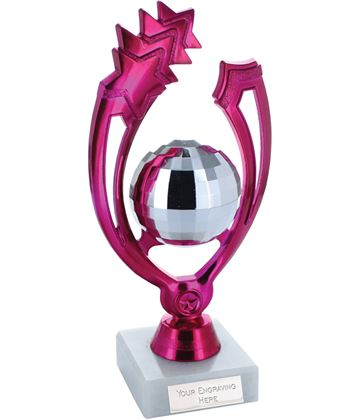 "Pink Shooting Star Glitter Ball Dance Trophy On Marble Base 18cm (7"")"