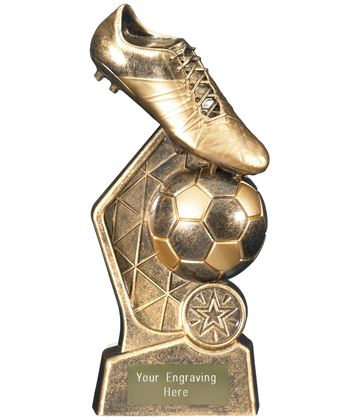 "Hex Football Trophy Antique Gold 18.5cm (7.25"")"