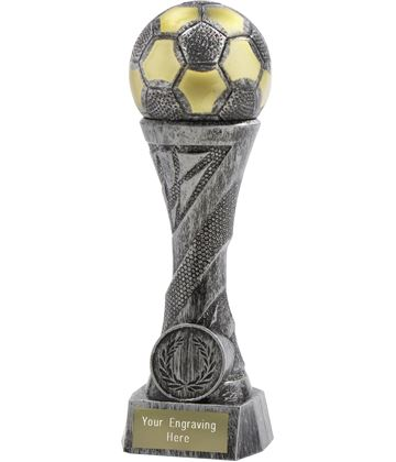 "Football Trophy Heavyweight Sculpture Antique Silver 27cm (10.5"")"