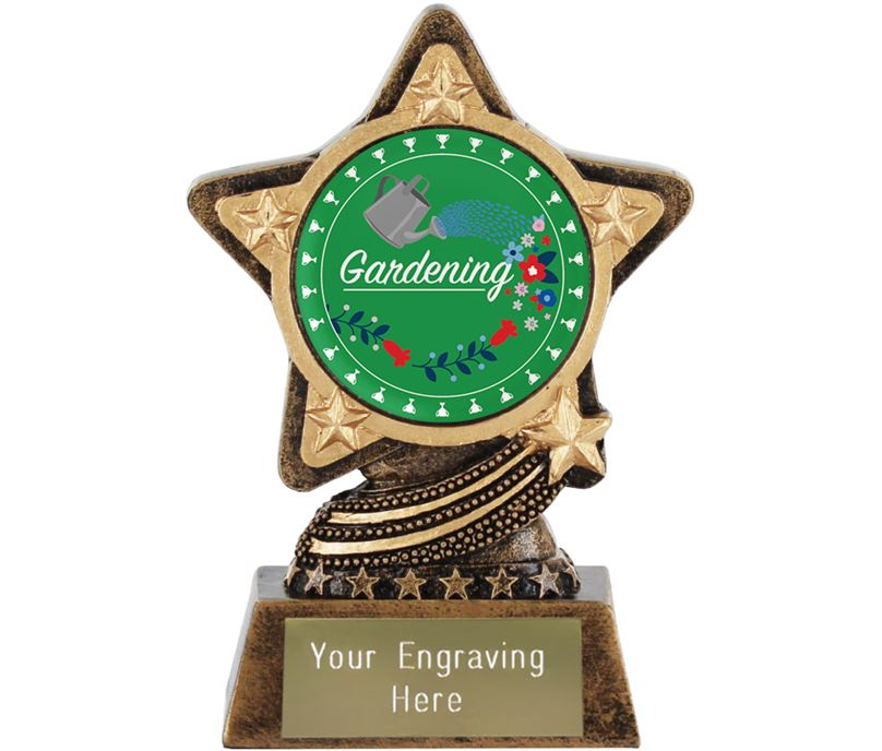 "Flower Gardening Trophy by Infinity Stars 10cm (4"")"