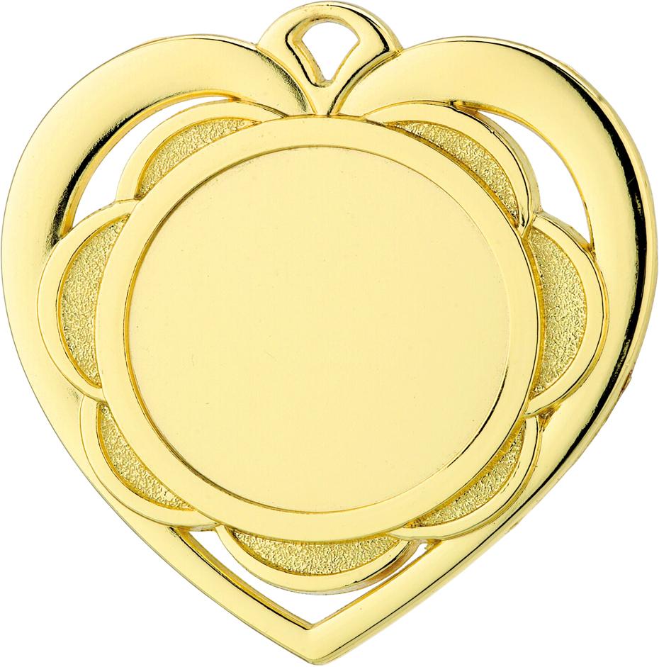 """Heart Emoji Medal Gold 50mm (2"""")"""