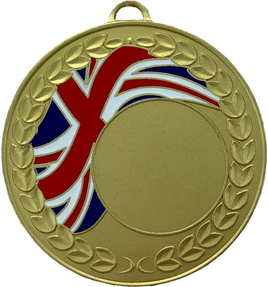 "Union Jack Laurel Wreath Medal Gold 50mm (2"")"