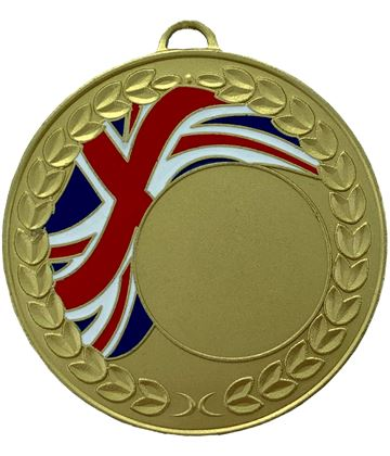 "Union Jack Laurel Wreath Medal Gold 50mm (2"")"