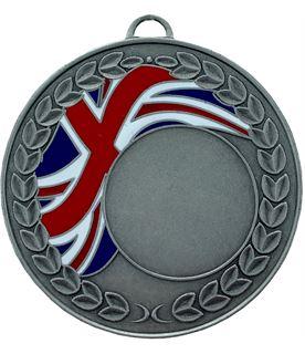 "Union Jack Laurel Wreath Medal Silver 50mm (2"")"