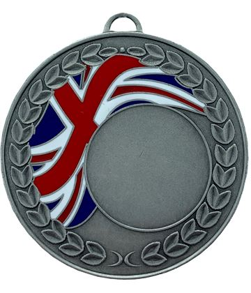 "Union Jack Laurel Wreath Medal Silver 50mm (2"")"