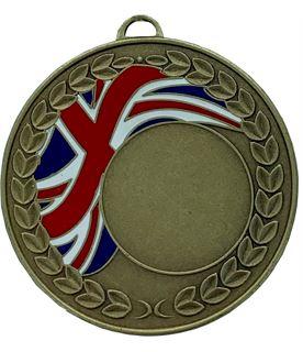 "Union Jack Laurel Wreath Medal Bronze 50mm (2"")"