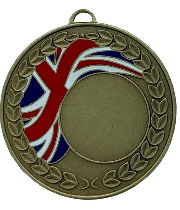 "Union Jack Laurel Wreath Medal Bronze 50mm (2"")"