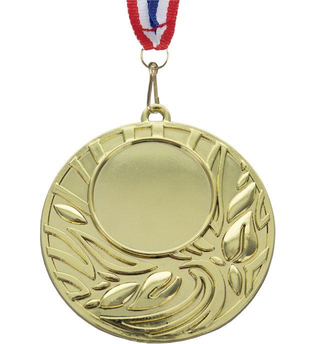 "Gold Leaf Design Medal With Red, White & Blue Ribbon 50mm (2"")"