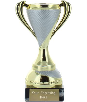 "Trophy Cup on Marble Base Gold with Silver Detail 13cm (5.25"")"