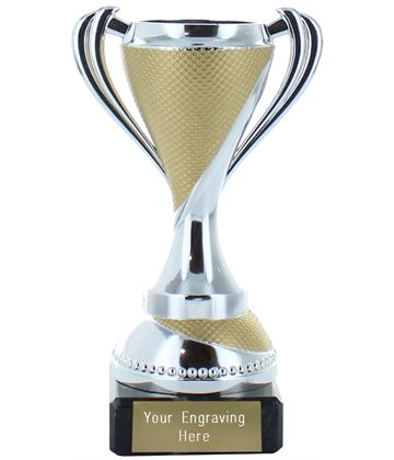 Trophy Cup on Marble Base Silver with Gold Detail 13cm