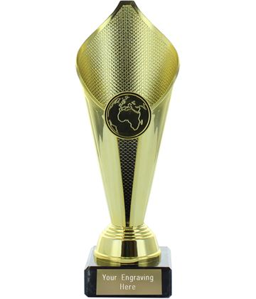 "Flame Cup Trophy on Marble Base Gold 19cm (7.5"")"