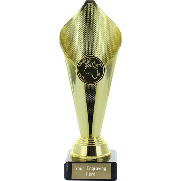 """Flame Cup Trophy on Marble Base Gold 19cm (7.5"""")"""