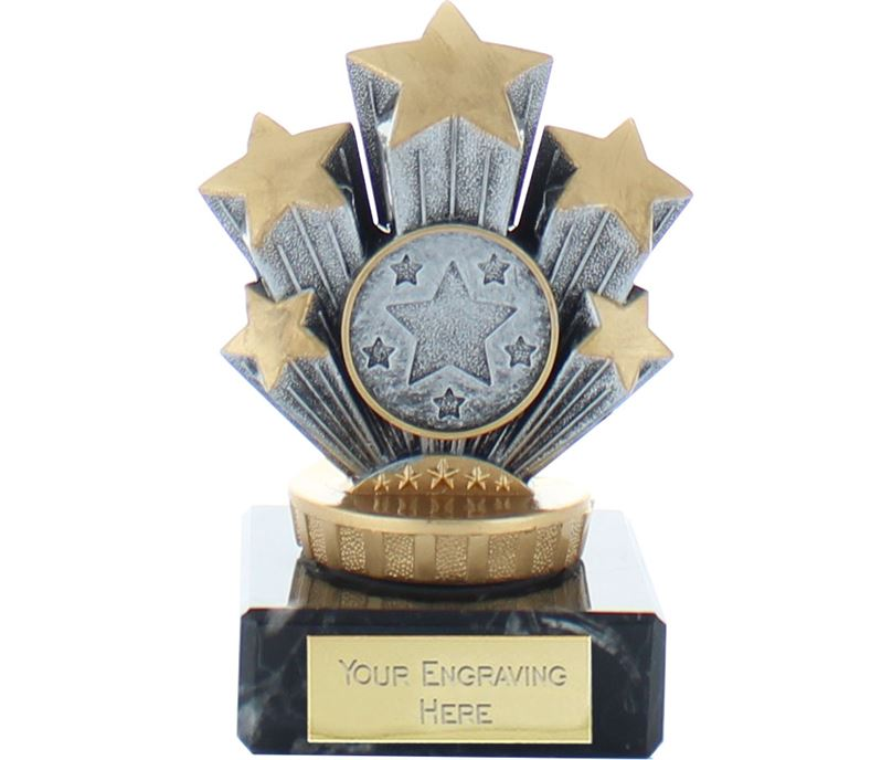 "5 Star Trophy on Marble Base Gold & Silver 9.5cm (3.75"")"