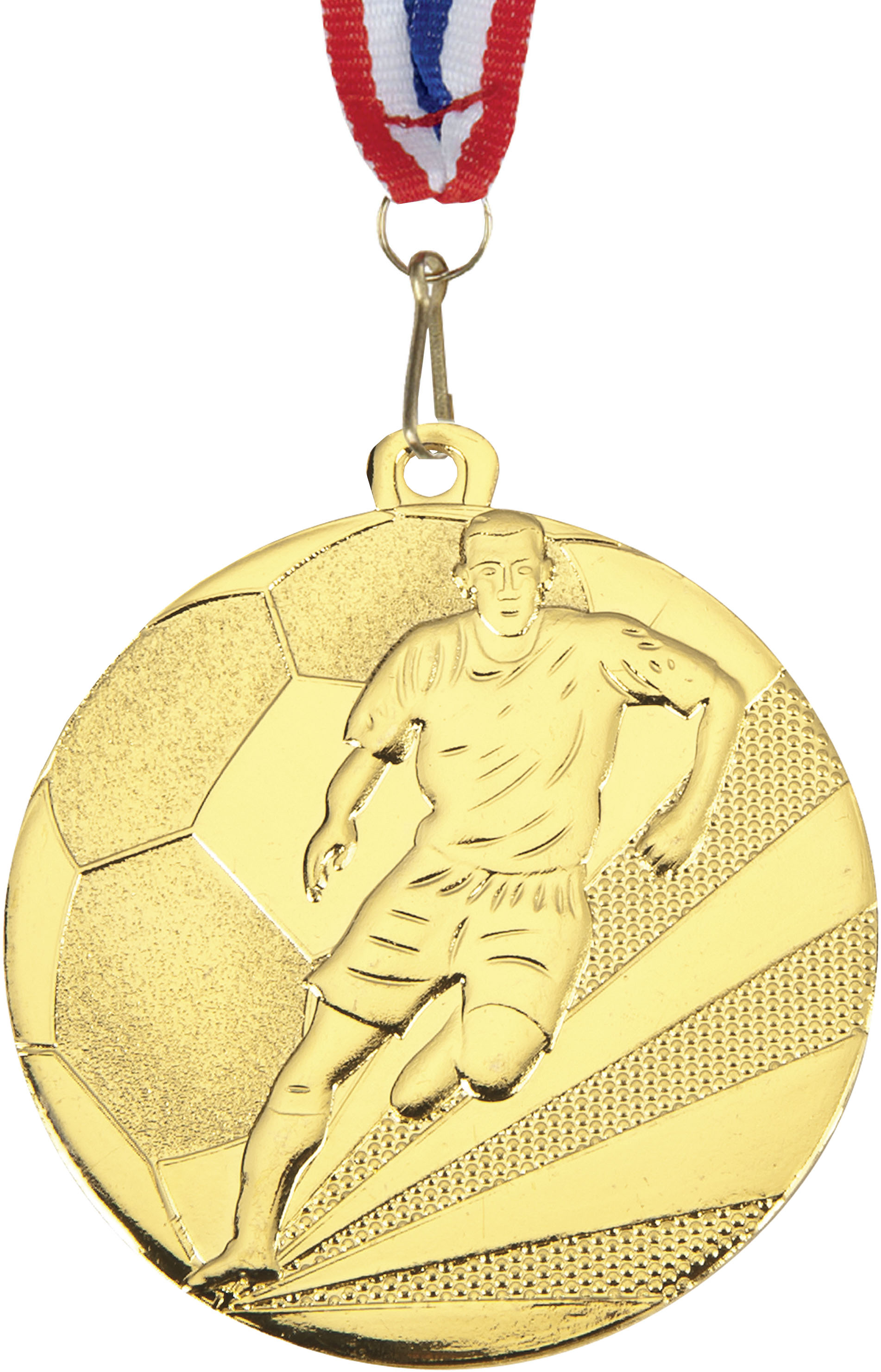 """Football Medal Gold With Red, White & Blue Medal Ribbon 50mm (2"""")"""