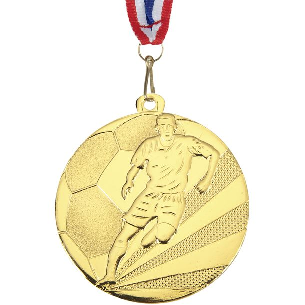 """Football Medal Gold With Medal Ribbon 50mm (2"""")"""