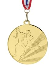 "Running Medal Gold With Medal Ribbon 50mm (2"")"
