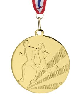 "Running Medal Gold With Red, White & Blue Medal Ribbon 50mm (2"")"