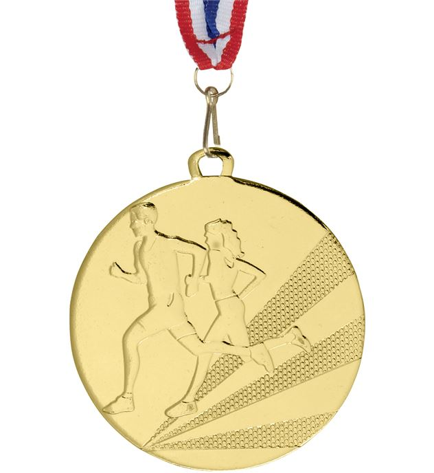 """Running Medal Gold With Medal Ribbon 50mm (2"""")"""